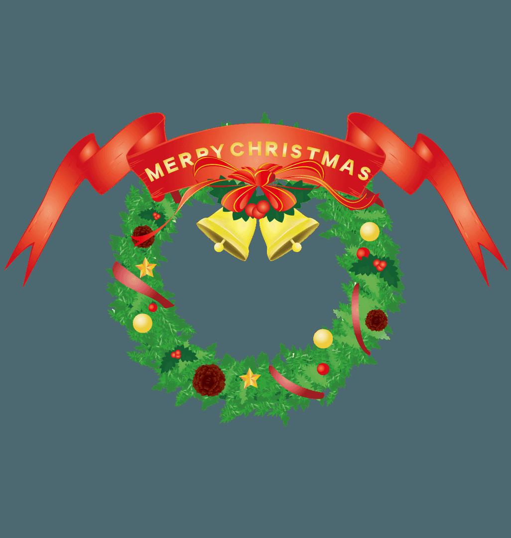 リボンのついたクリスマスリースのイラスト