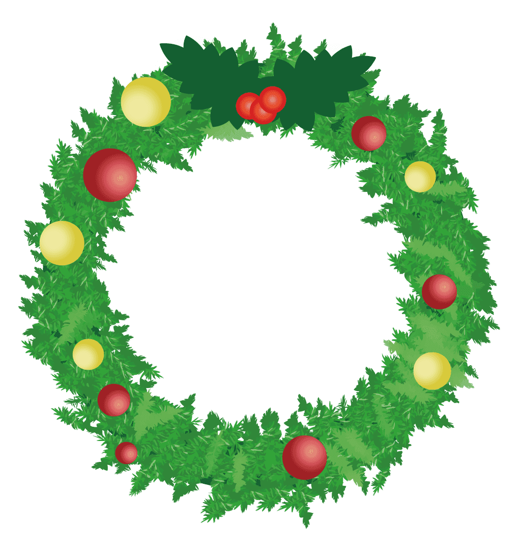 シンプルなクリスマスリースのイラスト