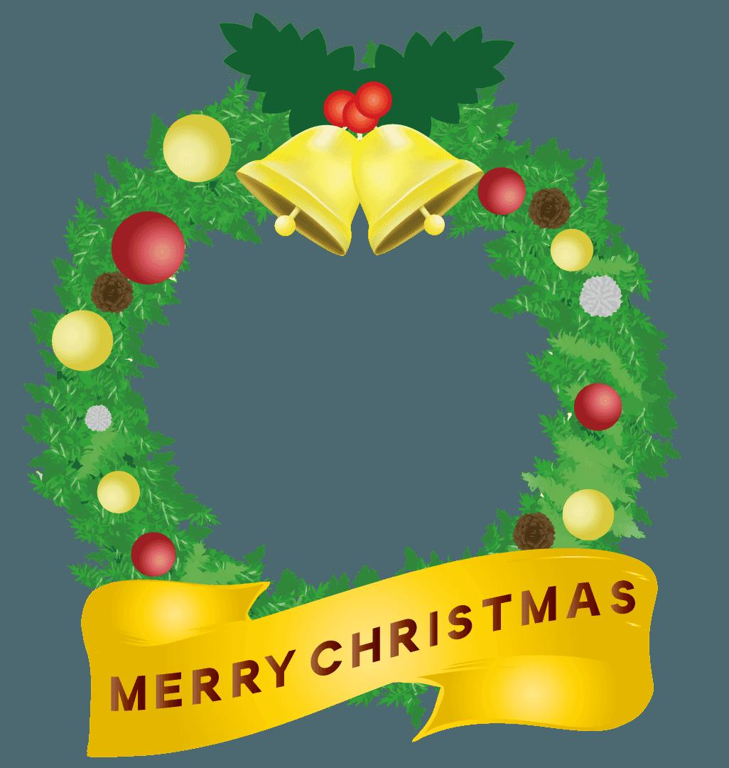 バナーのついたクリスマスリースのイラスト