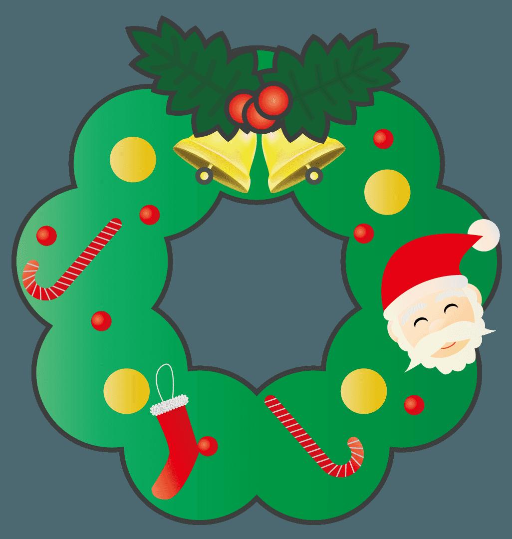 子供用のクリスマスリースのイラスト