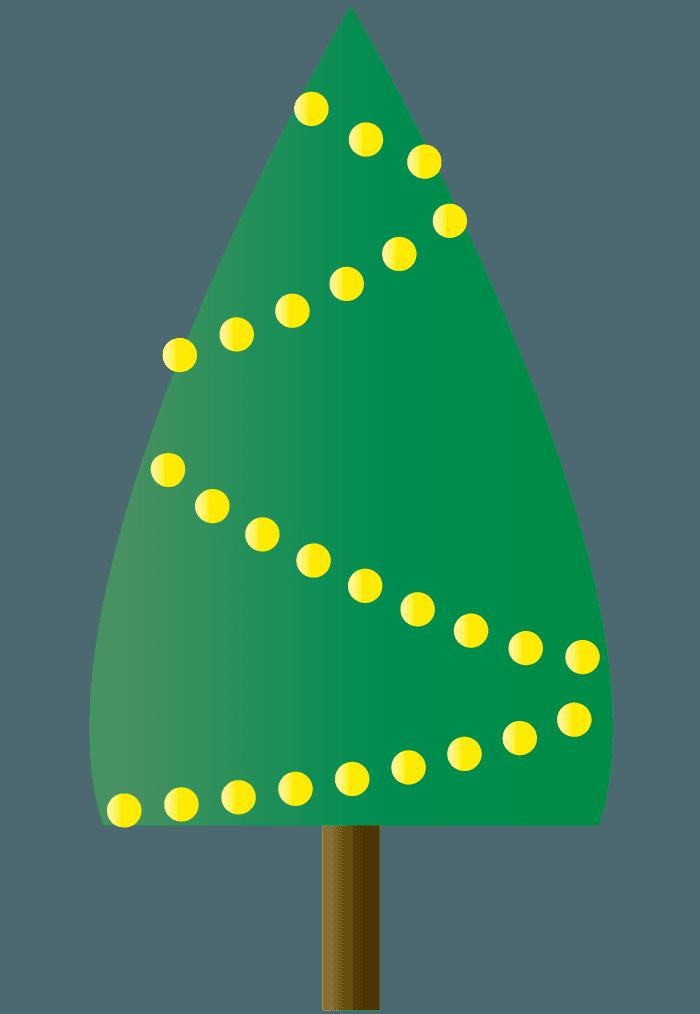 シンプルなクリスマスツリーと電飾イラスト