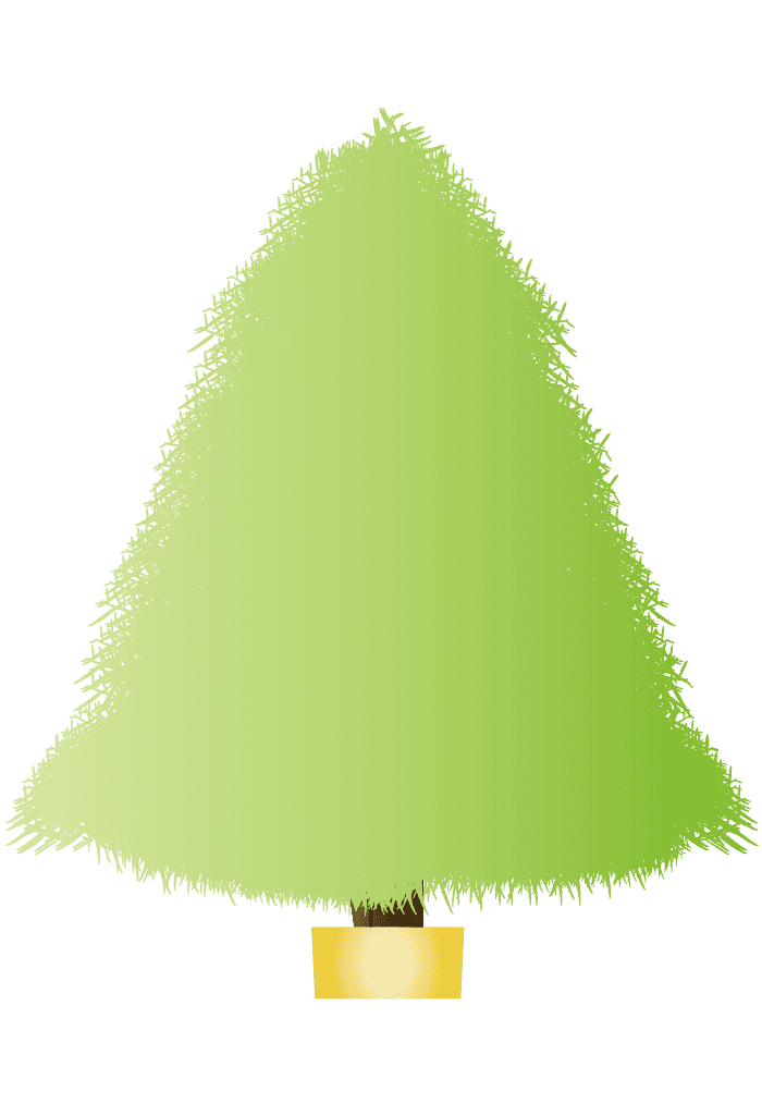 柔らかい黄緑色のクリスマスツリーイラスト