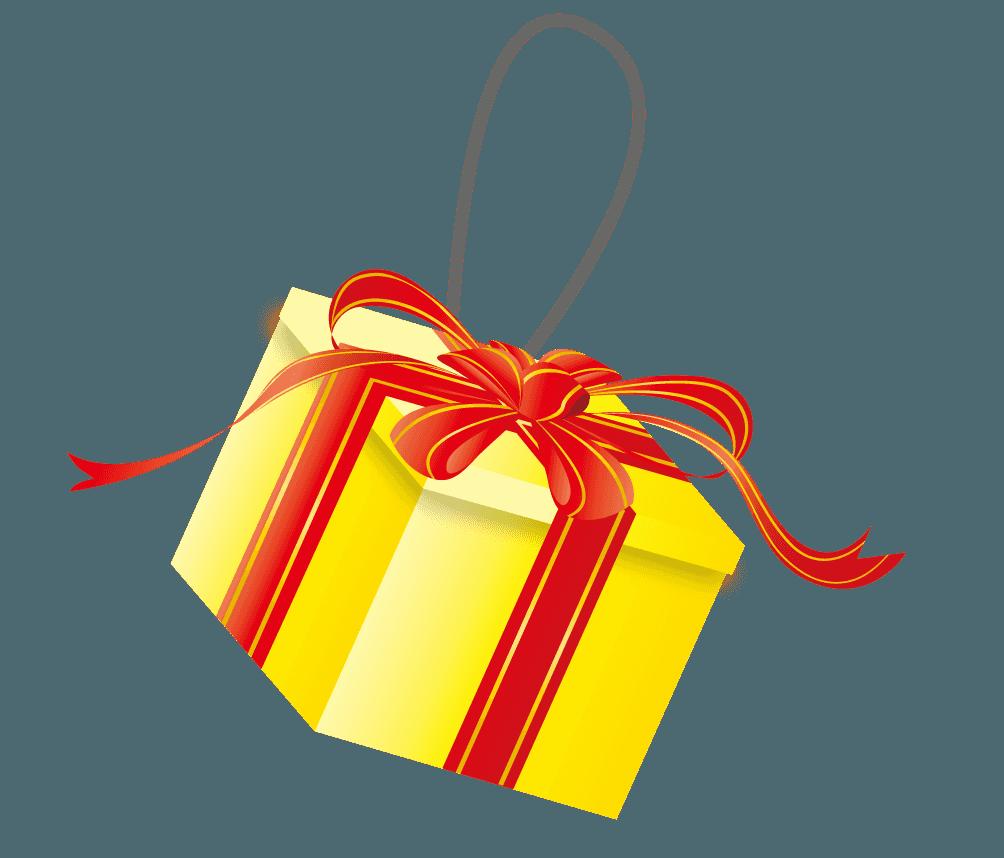 黄色いプレゼントのツリーの飾りイラスト