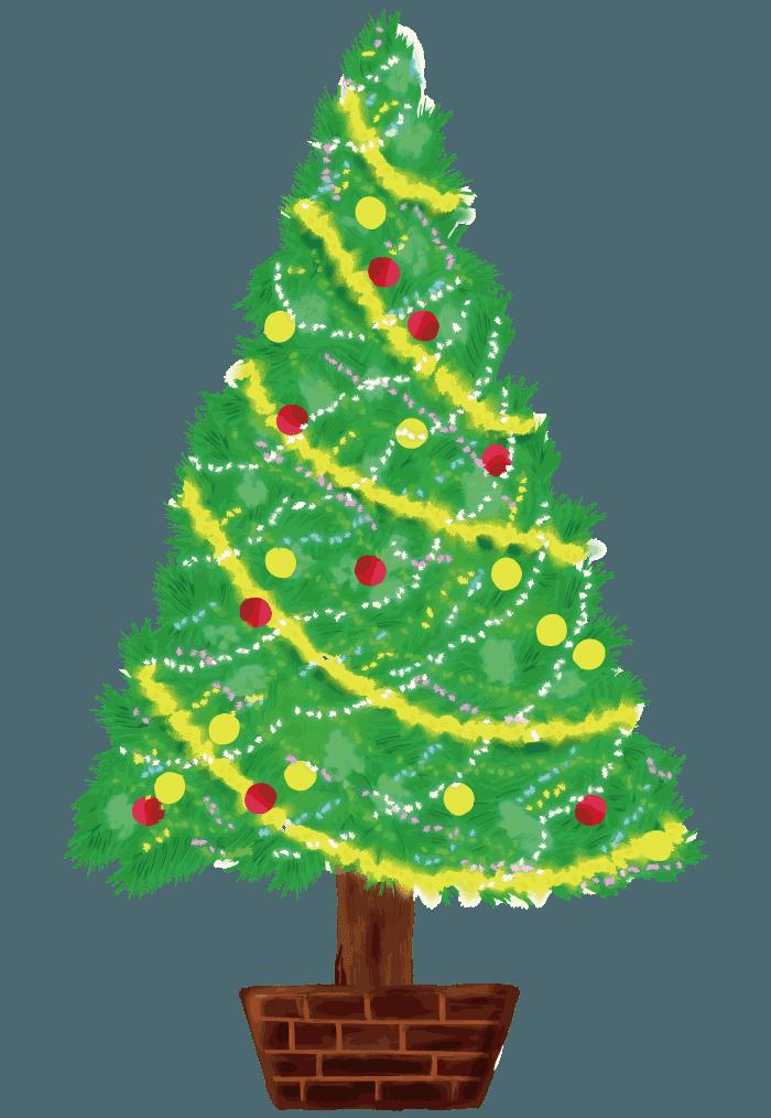 手描きの可愛いクリスマスツリーイラスト