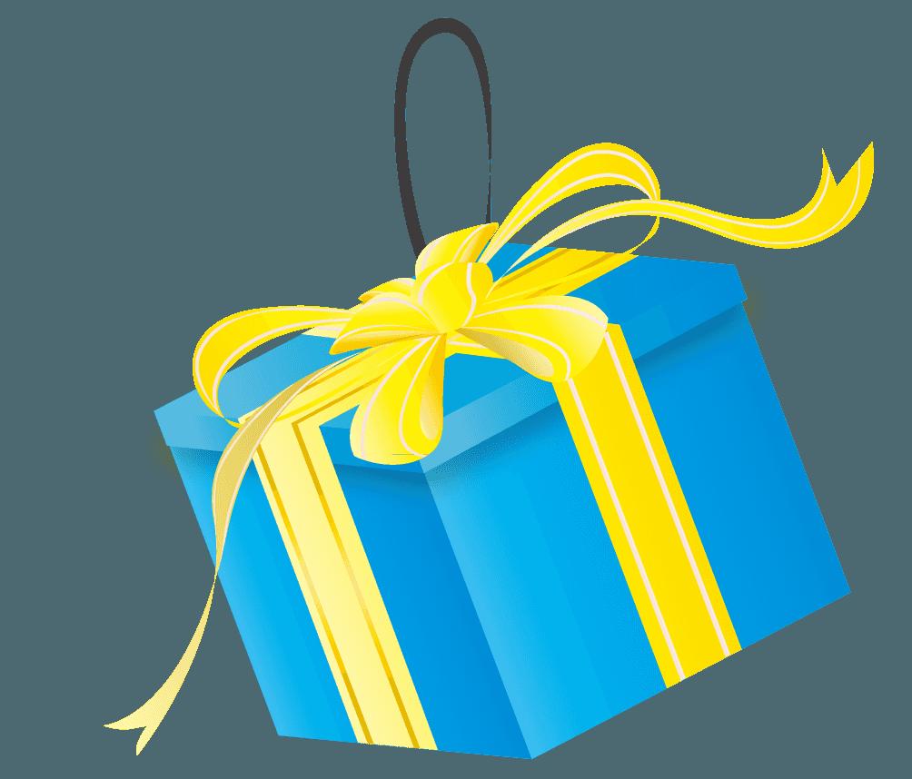 ツリー様の青いプレゼントの飾りイラスト