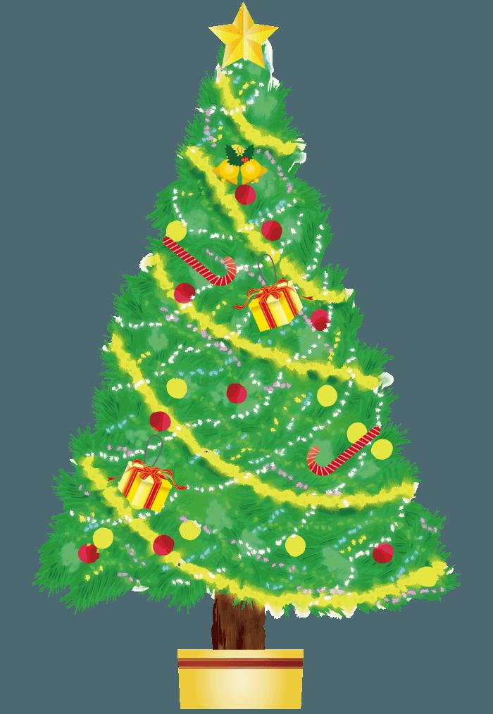 手描きのクリスマスツリー(綺麗な鉢植え)イラスト