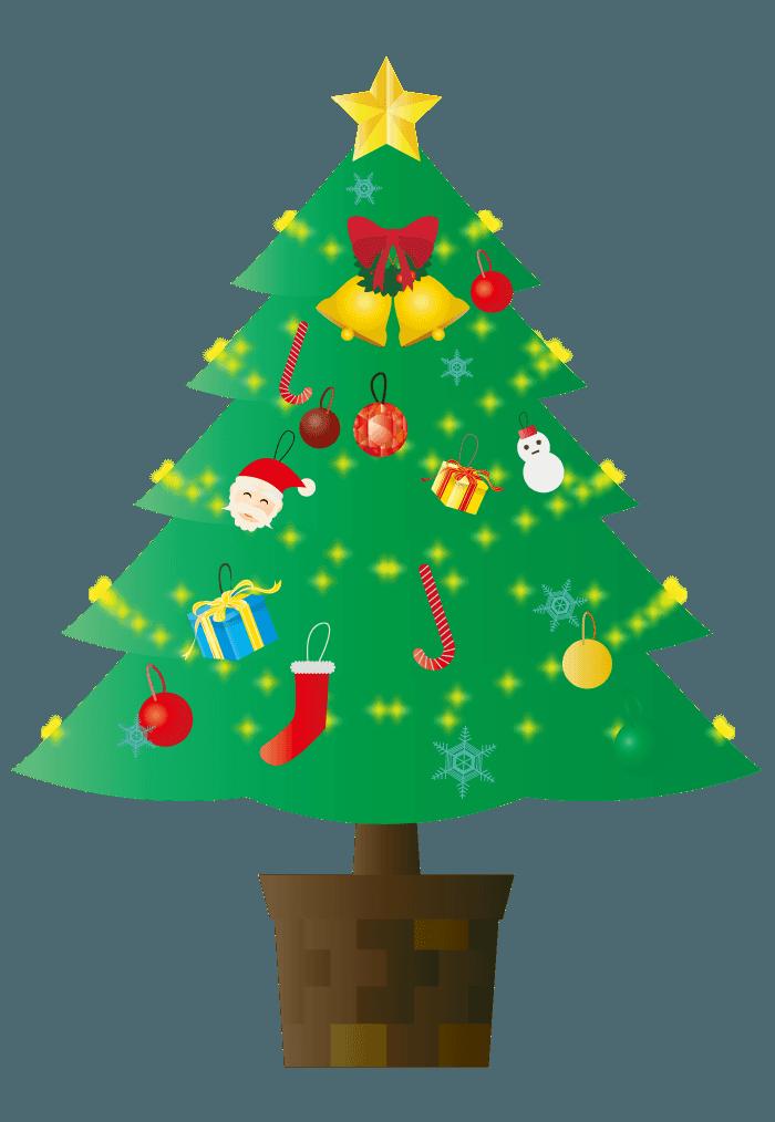 賑やかなクリスマスツリーイラスト