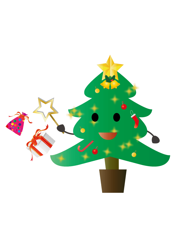 夢を叶えるクリスマスツリーのキャラクターイラスト