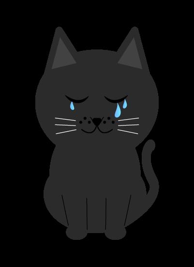 泣く黒猫のイラスト