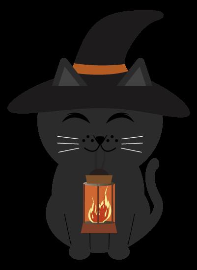 ハロウイン黒猫のイラスト