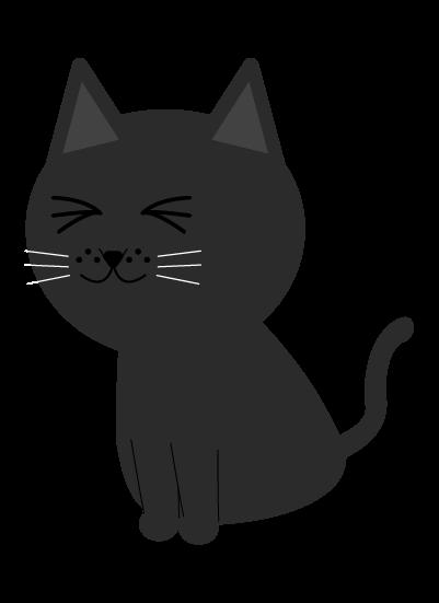 目を瞑る黒猫のイラスト