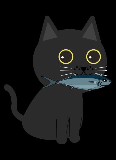 魚をくわえる黒猫(右向き)のイラスト