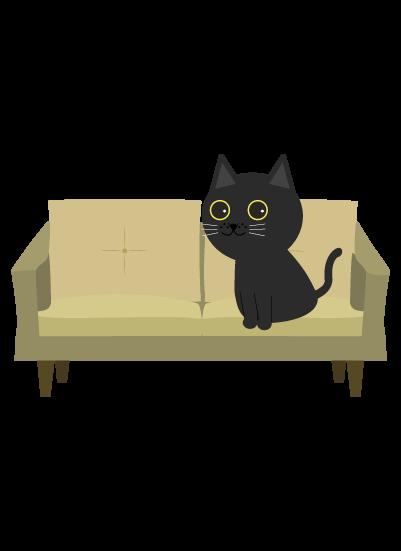 ソファーに座る黒猫のイラスト