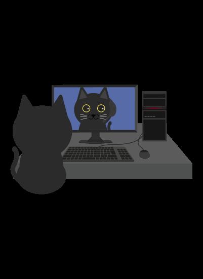 リモート黒猫のイラスト