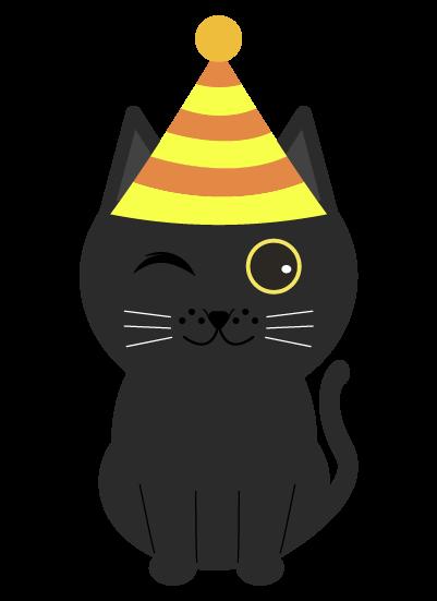 パーティー黒猫のイラスト