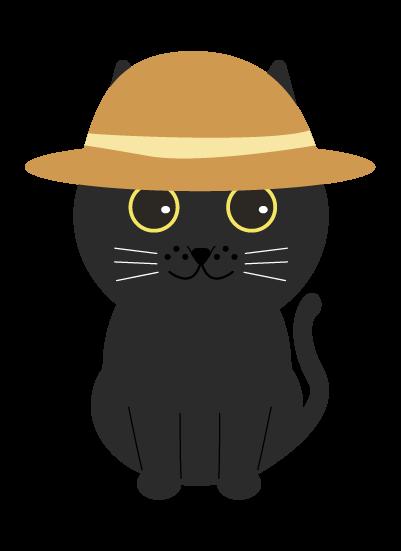 麦わら黒猫のイラスト