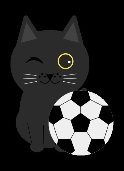 サッカー黒猫のイラスト