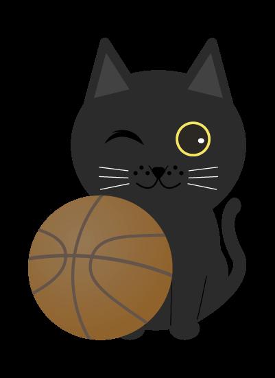 バスケ黒猫のイラスト