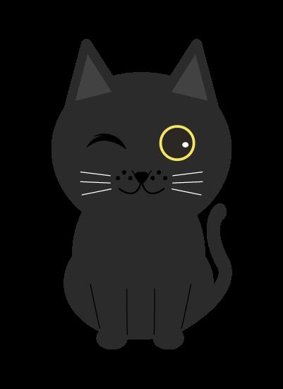 ウインク黒猫のイラスト