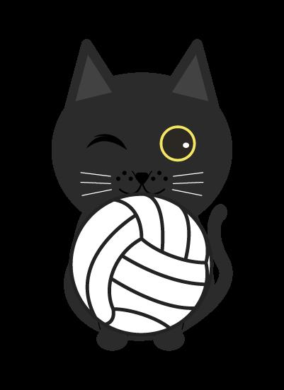 バレー黒猫のイラスト