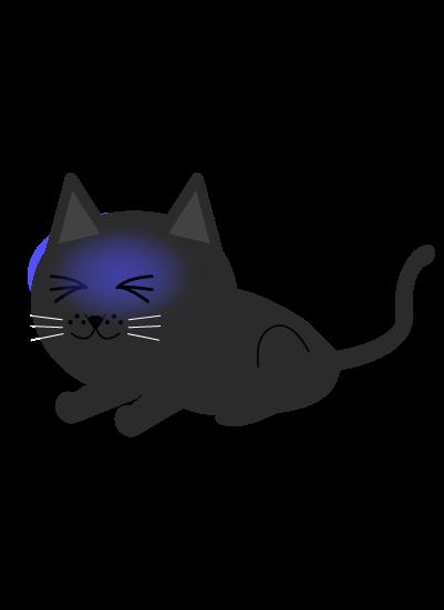 震える黒猫のイラスト