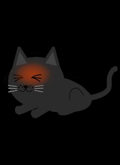 発熱黒猫のイラスト