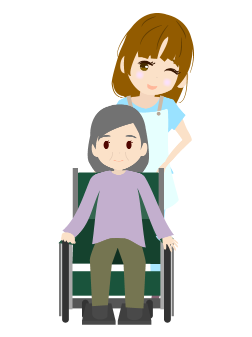 車椅子のおばあちゃんと介護職員のイラスト