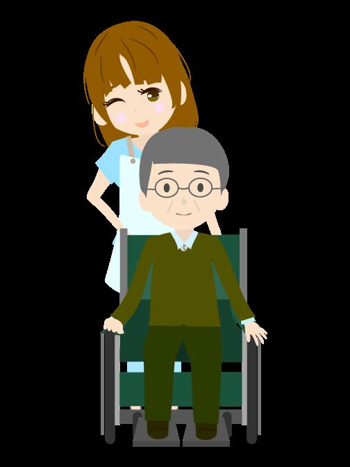 車椅子のおばあちゃんと介護職員の老人のイラスト