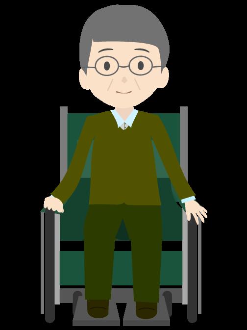 車椅子に乗ったおじいちゃんのイラスト