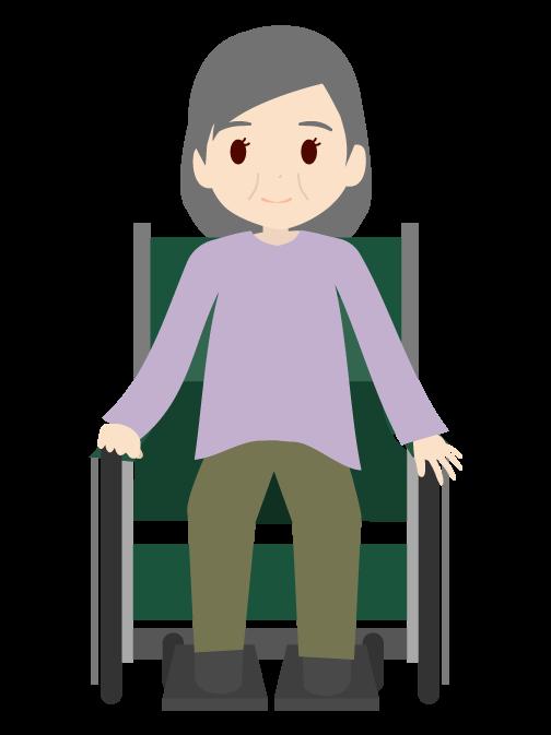 車椅子に乗ったおばあちゃんのイラスト