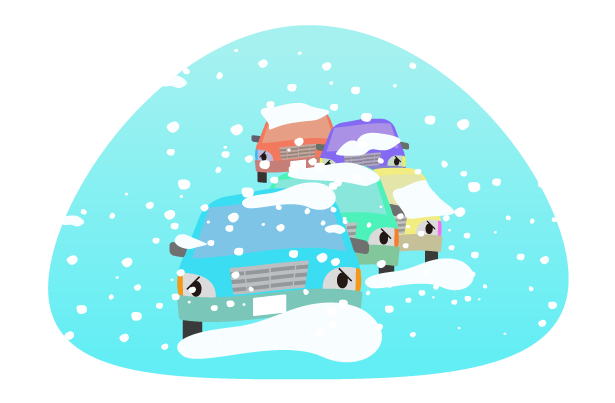 冬の車の立ち往生の車のトラブルのイラスト
