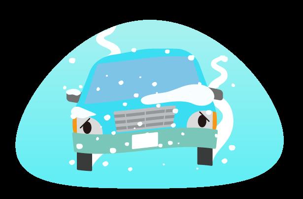 スリップ路面の車のトラブルのイラスト