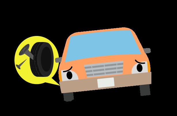 パンクの車のトラブルのイラスト