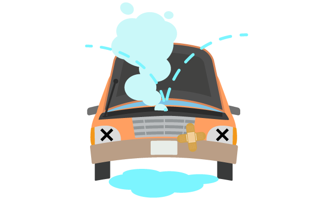 オーバーヒートの車のトラブルのイラスト