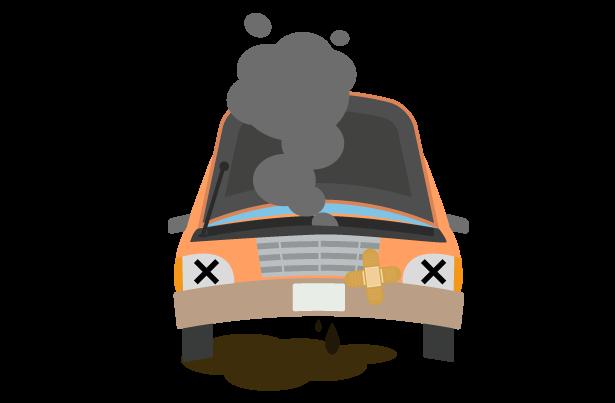 エンジンオイル漏れの車のトラブルのイラスト