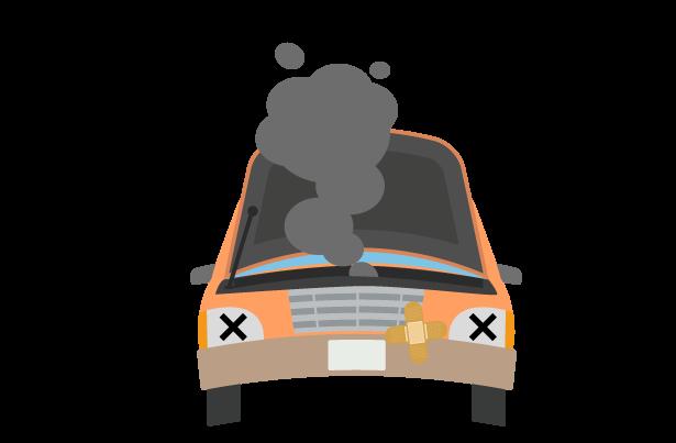エンジン系トラブルの車のトラブルのイラスト