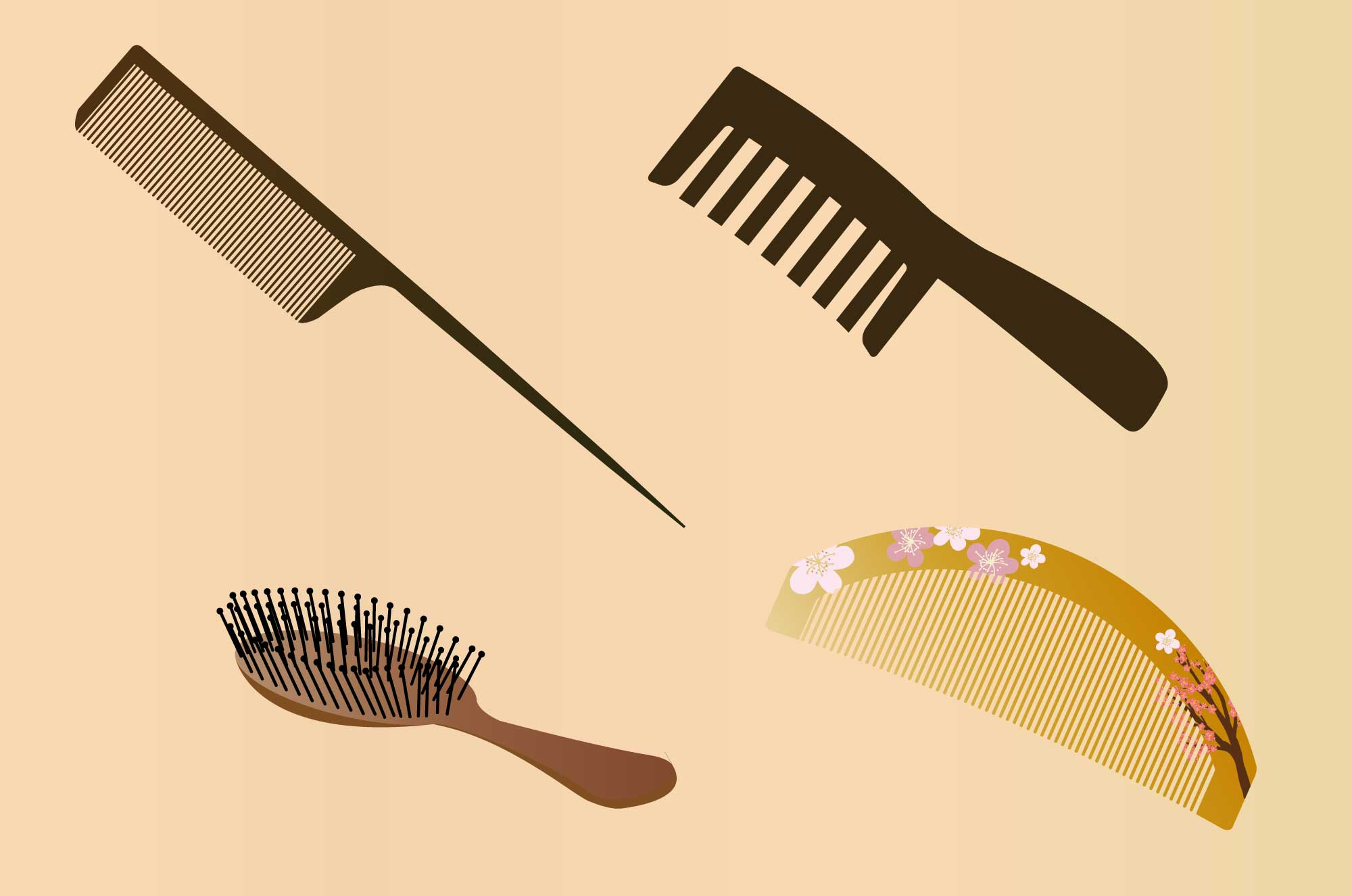 くしイラスト - コーム・ブラシ・和風櫛の無料素材