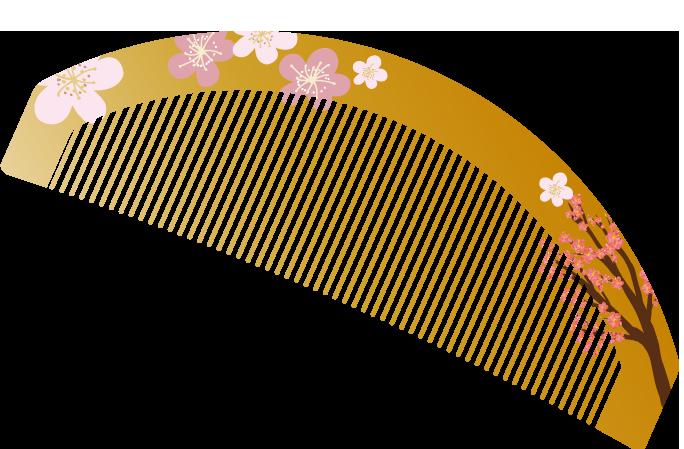 可愛い和風の櫛のイラスト