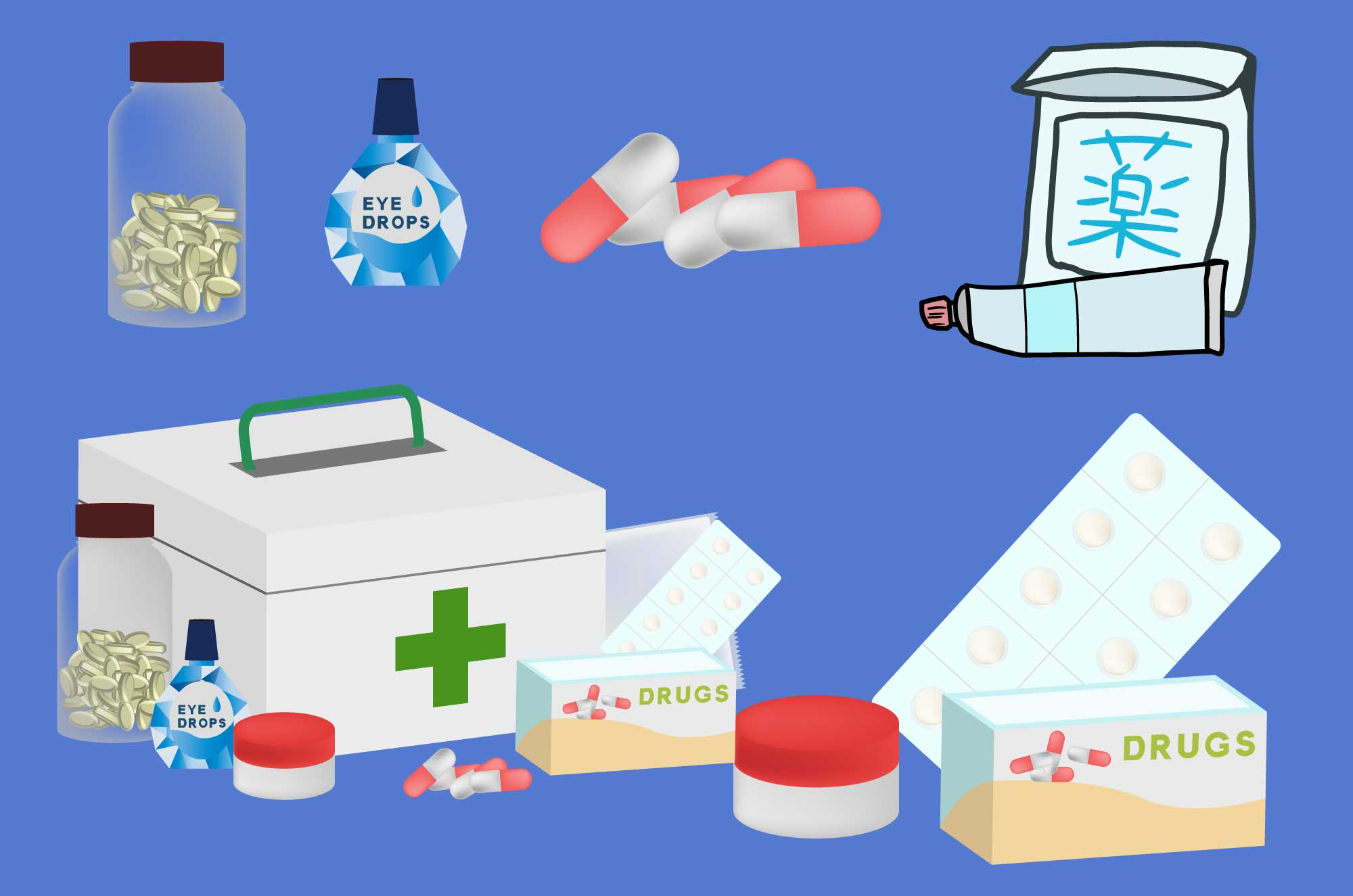 薬の無料イラスト - 目・錠剤・カプセル・薬箱の素材