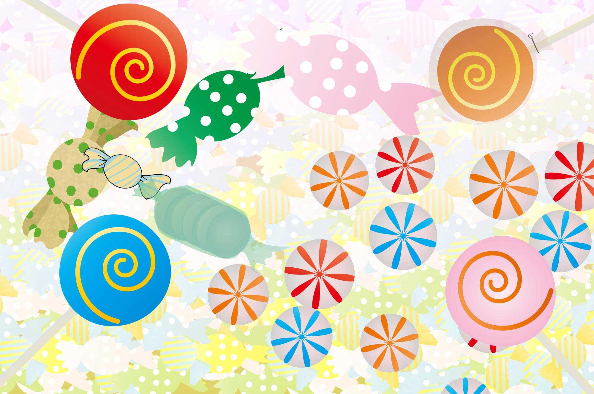 可愛いキャンディのイラスト - カラフルポップな飴の素材