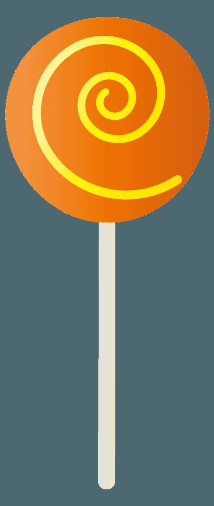 オレンジの棒キャンディのイラスト