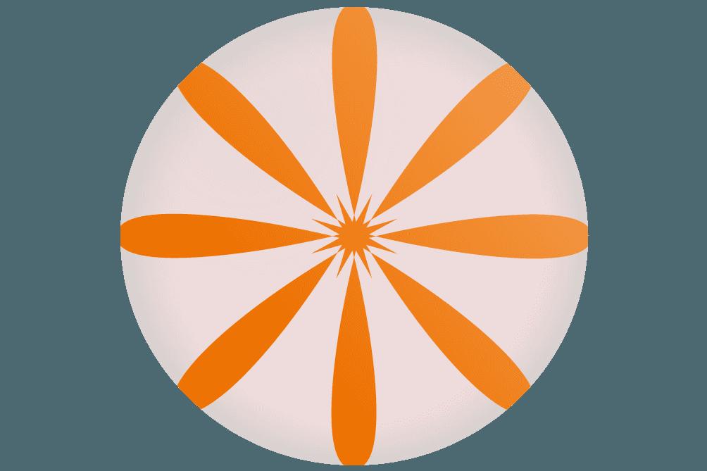 可愛いオレンジ色の手毬飴のイラスト