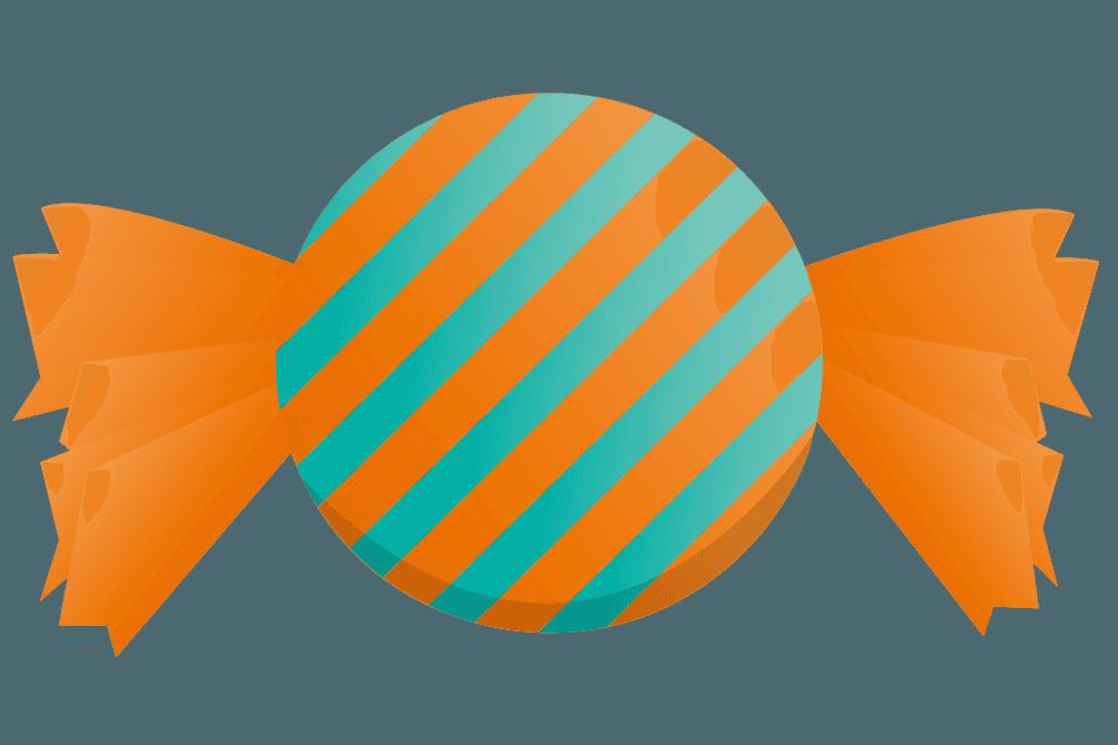 オレンジ色のシマシマキャンディのイラスト