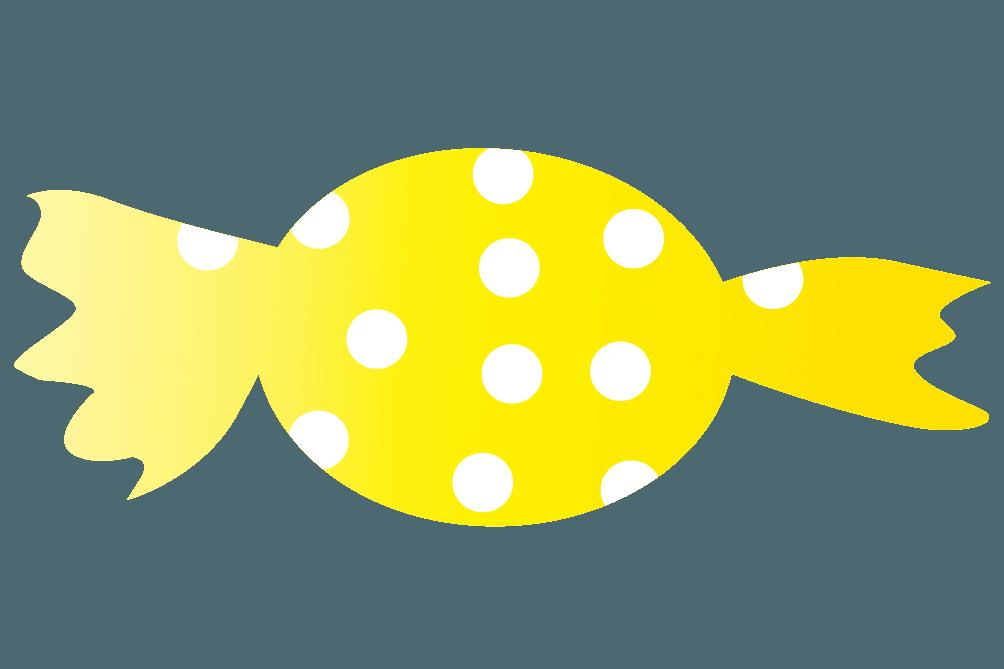可愛い黄色い水玉のキャンディのイラスト