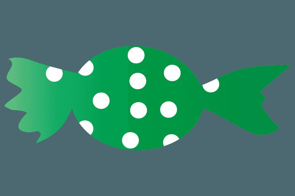 可愛い緑色い水玉のキャンディのイラスト