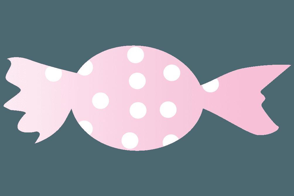 ピンク色い水玉のキャンディのイラスト