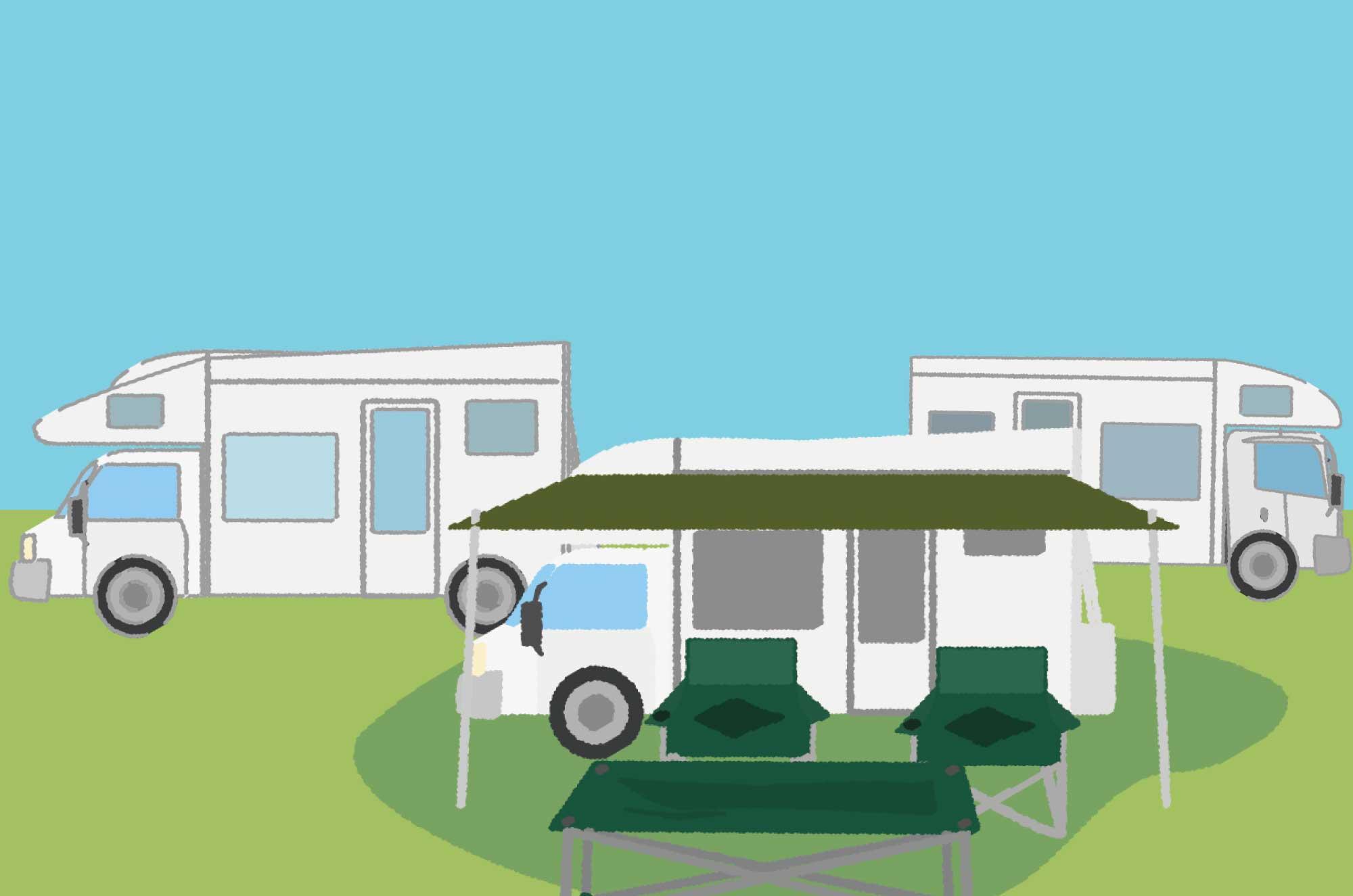 キャンピングカーのイラスト - 自然の車無料素材