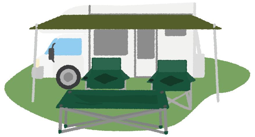 キャンプとキャンピングカーのイラスト