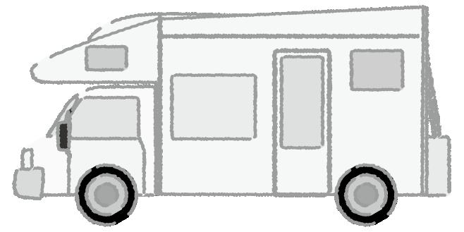 白黒のキャンピングカーのイラスト