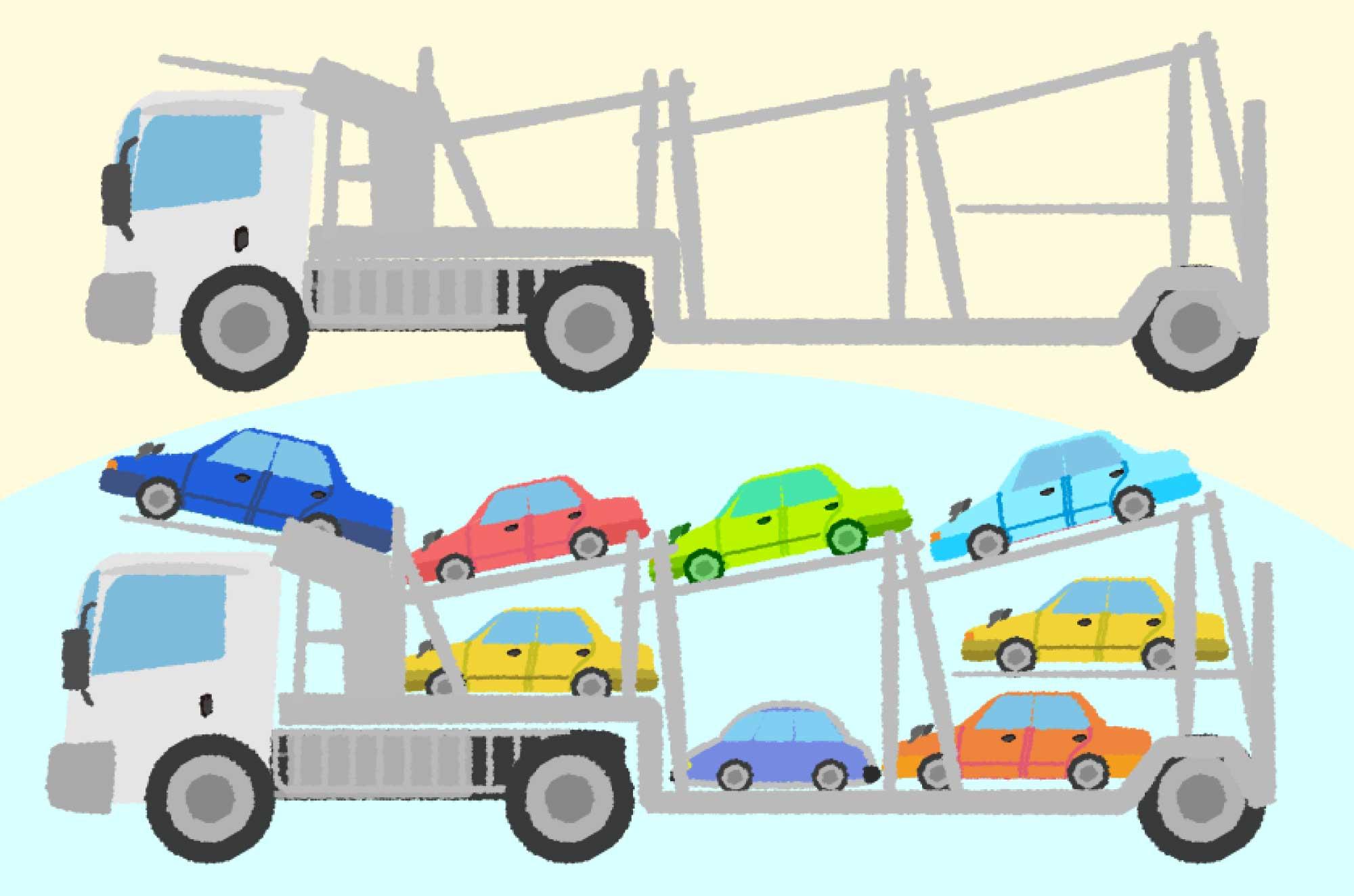 キャリアカーイラスト - 車を運ぶ車の乗り物無料素材